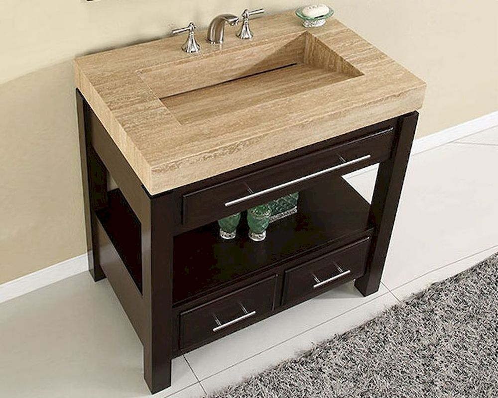 Silkroad 36 single sink cabinet travertine vanity top sink for Vanity top cabinet