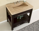 "Silkroad 36"" Single Sink Cabinet Travertine, Vanity Top Sink"
