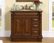 "Silkroad 38"" Single Sink Cabinet Baltic Brown GraniteTop"