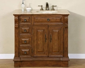"Silkroad 38"" Single Sink Cabinet (Right) Travertine Top"