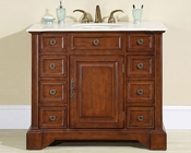 "Silkroad 40"" Single Sink Cabinet Cream Marfil Marble Top, White Sink"