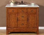 "Silkroad 42"" Single Sink Cabinet Crema Marfil Marble Top"