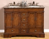"Silkroad 48"" Double Bathroom Vanity Brown Granite Top"
