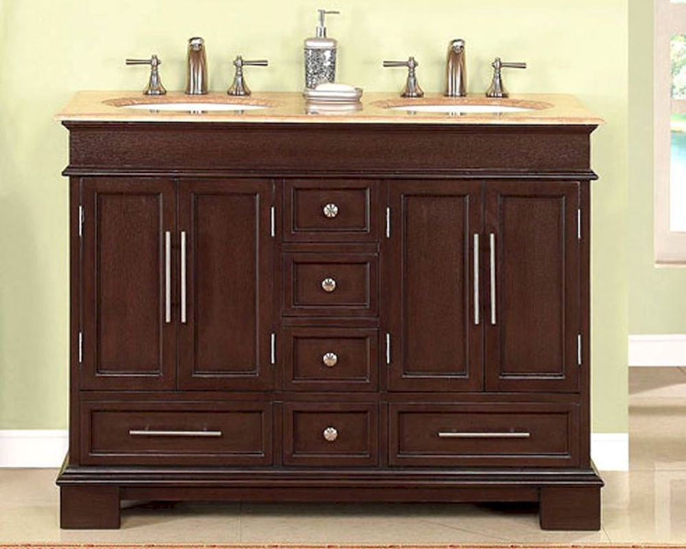 Silkroad 48 double bathroom vanity travertine top white for Vanity top bathroom
