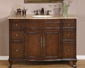 "Silkroad 48"" Single Sink Cabinet Travertine Top, Ceramic Sink"