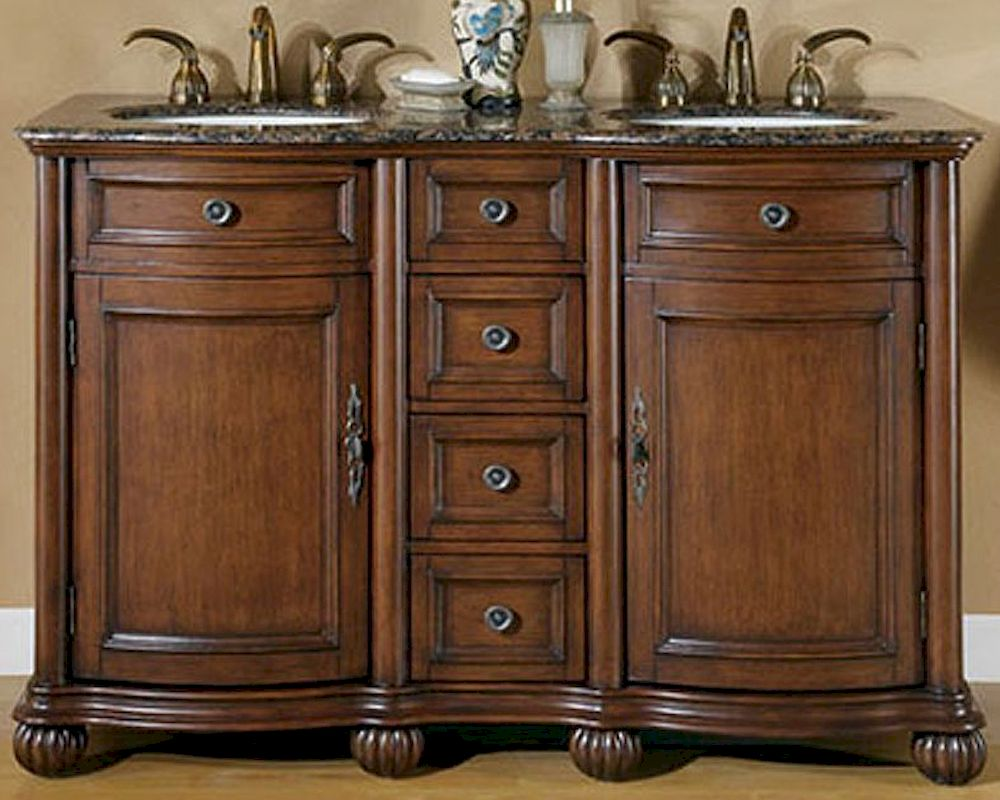 Silkroad 52 double bathroom vanity brown granite top - Double bathroom vanities granite tops ...