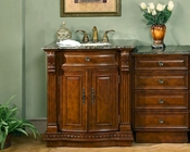 "Silkroad 53"" Single Sink Cabinet w/Drawer Bank, Granite Top"