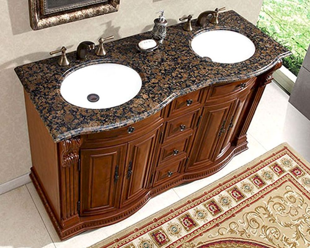 Silkroad 55 Double Bathroom Vanity Brown Granite Top White Sinks