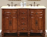 "Silkroad 55"" Double Bathroom Vanity Crema Marfil Top, Ivory Sinks"