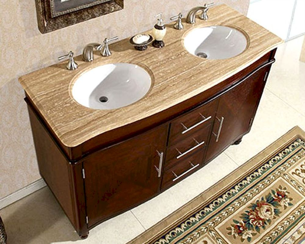 Silkroad 55 double bathroom vanity travertine top white sinks for 55 inch double sink bathroom vanity