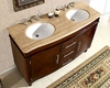 "Silkroad 55"" Double Bathroom Vanity Travertine Top, White Sinks"