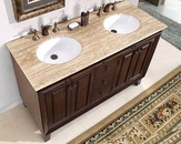 "Silkroad 55"" Double Bathroom Vanity White Sinks, Travertine Top"