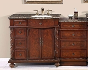 "Silkroad 55"" Single Sink Cabinet (Right Sink) w/Drawer Bank"