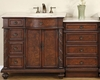 "Silkroad 55"" Single Sink Cabinet (Right) w/Drawer Bank Marble Top"
