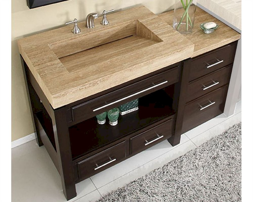 Silkroad 56 single sink cabinet w drawer bank vanity top for Vanity top cabinet