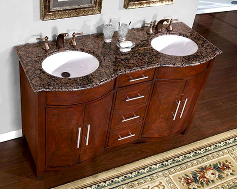 60 double sink vanity with granite top.  Silkroad 58 Double Bathroom Vanity Brown Granite Top White Sinks