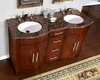 "Silkroad 58"" Double Bathroom Vanity Brown Granite Top, White Sinks"