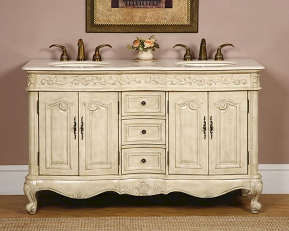 silkroad 58 double bathroom vanity crema marfil top ivory sinks - Bathroom Cabinets Johannesburg