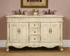 "Silkroad 58"" Double Bathroom Vanity Crema Marfil Top, Ivory Sinks"