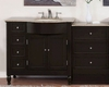 "Silkroad 58"" Single Sink Cabinet (Right) w/Drawer Bank Travertine Top"