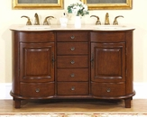 "Silkroad 59"" Double Bathroom Vanity Travertine Top, Ivory Sinks"