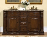 "Silkroad 60"" Double Sink Cabinet Granite Top"