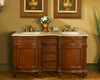 "Silkroad 60"" Double Sink Cabinet Travertine Top, Ceramic Sinks"