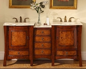 """Silkroad 67"""" Double Sink Cabinet Crema Marfil Top"""
