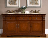 "Silkroad 67"" Double Sink Cabinet Travertine Top"