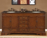 "Silkroad 72"" Double Sink Cabinet Brown Granite Top"