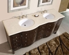 "Silkroad 72"" Double Sink Cabinet Crema Marfil Top, White Sinks"