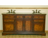 "Silkroad 72"" Double Sink Cabinet Granite Top"