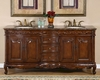 "Silkroad 72"" Double Sink Cabinet Granite Top, Ivory Sinks"