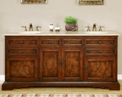 "Silkroad 72"" Double Sink Cabinet Travertine Top, Ivory Ceramic Sinks"