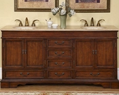 "Silkroad 72"" Double Sink Cabinet Travertine Top, Ivory Sinks"