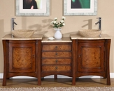 "Silkroad 72"" Double Sink Cabinet Travertine Top, Travertine Sinks"