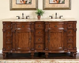 "Silkroad 72"" Double Sink Cabinet Travertine Top, Undermount Sinks"