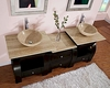 "Silkroad 77"" Double Sink Cabinet 7/8"" Travertine Top w/Drawer Bank"