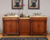 "Silkroad 83"" Double Sink Cabinet Travertine w/Drawer Bank, Lights"