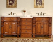 "Silkroad 84"" Double Sink Cabinet Marble Top w/Drawer Bank"