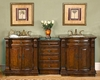 "Silkroad 84"" Double Sink Cabinet w/Drawer Bank, Brown Granite Top"