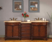"Silkroad 84"" Double Sink Cabinet w/Drawer Bank Travertine, Lights"