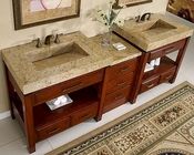 "Silkroad 92"" Double Sink Cabinet w/Drawer Bank Granite Top"