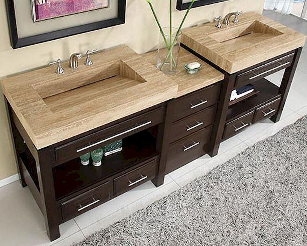 Silkroad 92 double sink cabinet w drawer bank vanity top for Bathroom vanity tops