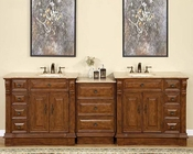 "Silkroad 95"" Double Sink Cabinet w/Drawer Bank Travertine"