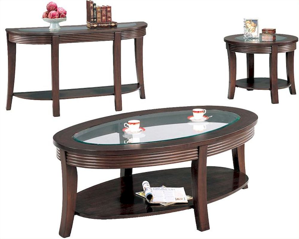 Glass Coffee Table Set: Simpson Coffee Table Set With Glass Top CO552