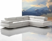 Snow White Modern Full Leather Sectional Sofa Set 44LPNC