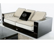 Sofa in Black Crocodile and Beige Fabric 44L006-3