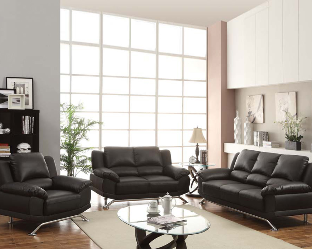 sofa set in black bonded leather maigan by acme furniture ac
