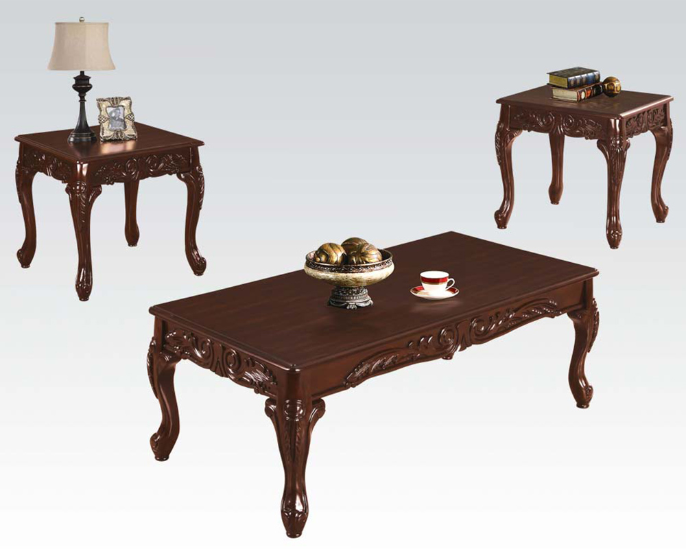 Brown Coffee Table Set Fairfax Magenta By Acme Furniture